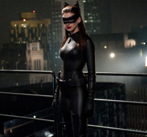 I can't say I care too much for the new Catwoman costume, but Hathaway makes it work
